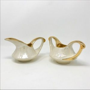 Vintage Iridescent & Gold Creamer & Sugar Set
